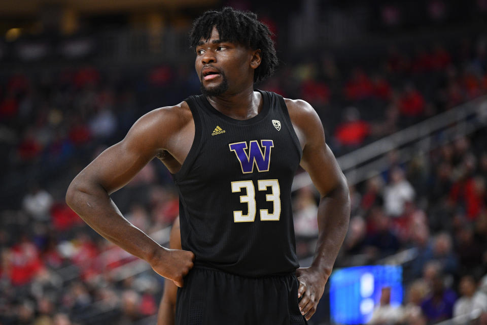 LAS VEGAS, NV - MARCH 11: Washington Huskies forward Isaiah Stewart (33) looks on during the first round game of the men's Pac-12 Tournament between the Arizona Wildcats and the Washington Huskies on March 11, 2020, at the T-Mobile Arena in Las Vegas, NV. (Photo by Brian Rothmuller/Icon Sportswire via Getty Images)