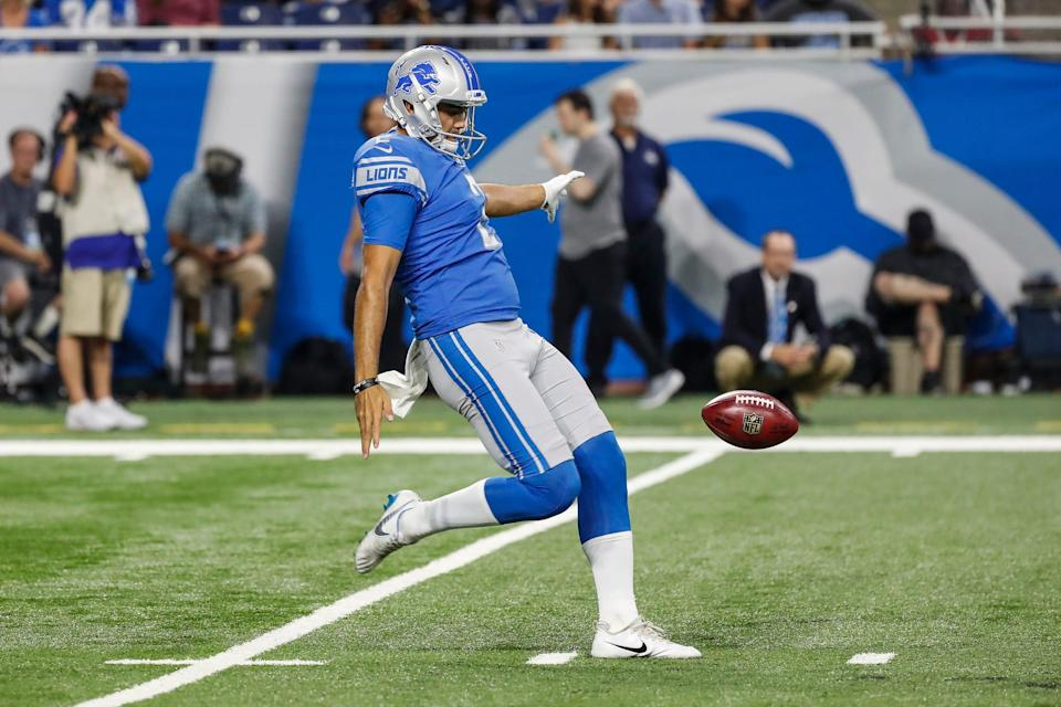 Detroit Lions punter Ryan Santoso (2) punts the ball during the second half of the preseason game against New York Giants at Ford Field in Detroit, Friday, August 17, 2018.