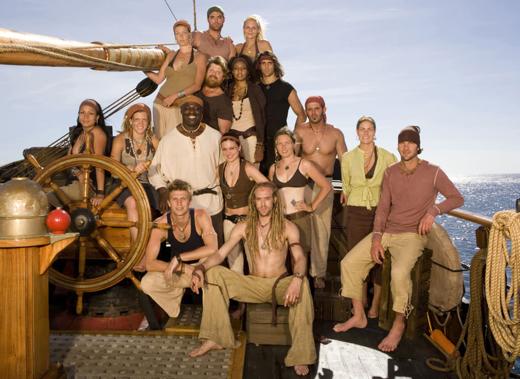 """<b>Idea:</b> """"Let's toss everyday people out onto the high seas to make believe they're pirates!"""" <br><br><b>That Led To:</b> """"Pirate Master"""" (CBS, 2007) <br><br><b>Did It Fail Miserably?</b> Arrr, indeed it did, matey. Only eight episodes made it to air before this ill-conceived treasure hunt was sent to Davy Jones' locker; not even the sheen of producer Mark Burnett's name could save it from a watery grave. And the show leaves a morbid legacy, with contestant Cheryl Kosewicz taking her own life after filming and blaming the show for driving a wedge between herself and her boyfriend."""