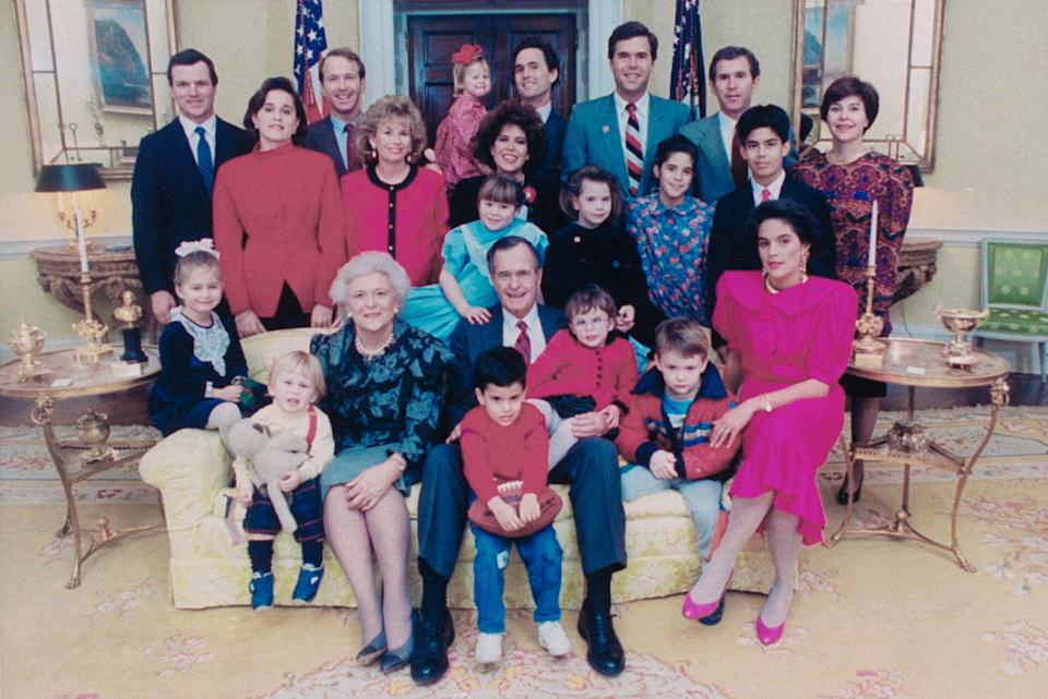 A formal portrait of President George H.W. Bush's family in the White House on Jan. 21, 1989.