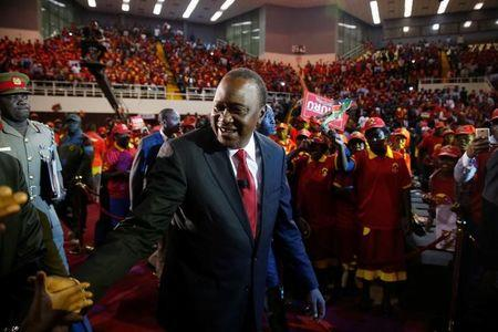 Kenya's President Uhuru Kenyatta arrives to the an event unveiling the Jubilee Party's manifesto in Nairobi