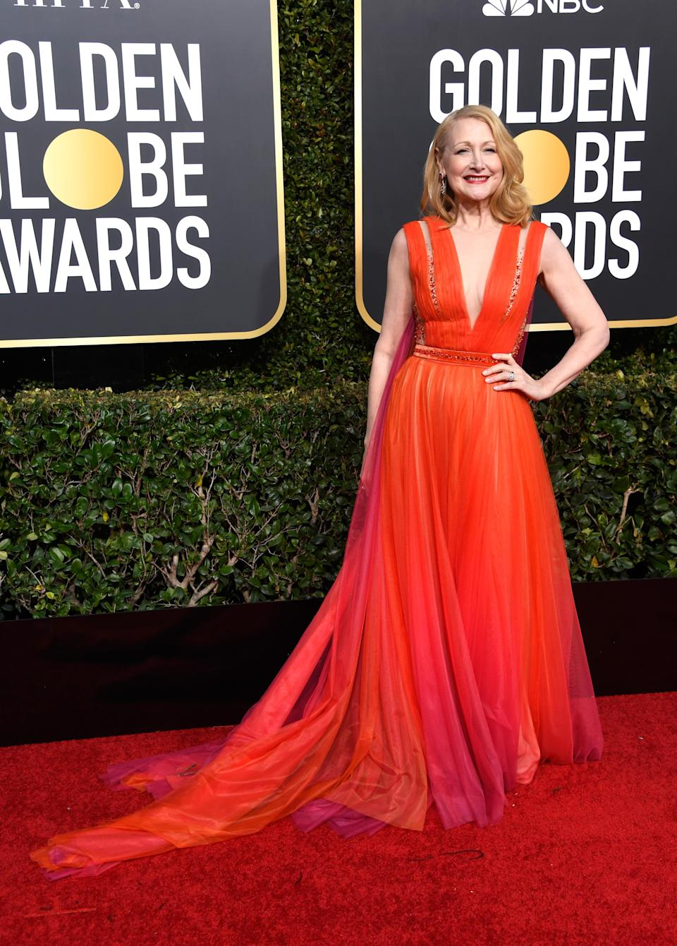 """<p>Clarkson (dressed in Georges Chakra) took home an award for her role in the HBO miniseries """"Sharp Objects.""""<br>Image via Getty Images. </p>"""
