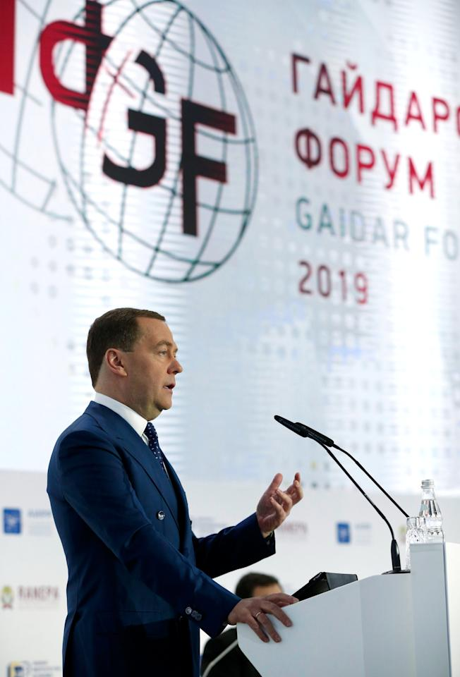 """Russian Prime Minister Dmitry Medvedev delivers a speech during a session of the Gaidar Forum 2019 """"Russia and the World: National Development Goals and Global Trends"""" in Moscow, Russia January 15, 2019. Sputnik/Dmitry Astakhov/Pool via REUTERS  ATTENTION EDITORS - THIS IMAGE WAS PROVIDED BY A THIRD PARTY."""