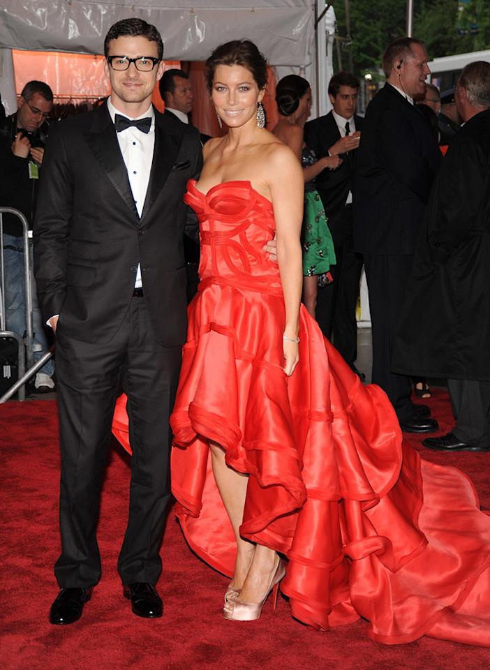 "Justin Timberlake sported a classic tux from his own William Rast line, while his lady love, Jessica Biel, opted for a billowing Atelier Versace gown and sexy stilettos. Kevin Mazur/<a href=""http://www.wireimage.com"" target=""new"">WireImage.com</a> - May 4, 2009"