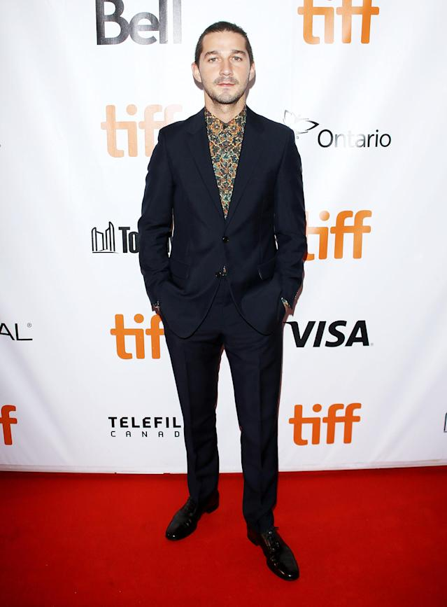 "<p><a href=""https://www.yahoo.com/movies/tagged/shia-labeouf"" data-ylk=""slk:Shia LaBeouf"" class=""link rapid-noclick-resp"">Shia LaBeouf</a> at the <a href=""https://www.yahoo.com/movies/tagged/toronto-film-festival"" data-ylk=""slk:2017 Toronto International Film Festival"" class=""link rapid-noclick-resp"">2017 Toronto International Film Festival</a> for <i>Borg/McEnroe</i>, on Sept. 7 (Photo: Michael Tran/Getty Images) </p>"