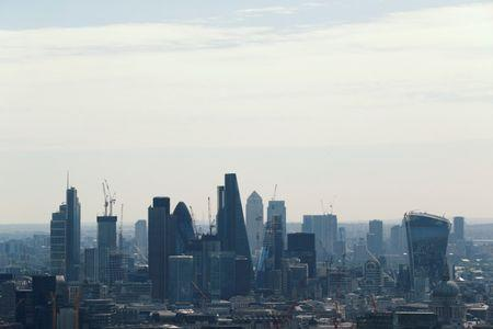 A view of the City of London and Canary Wharf.