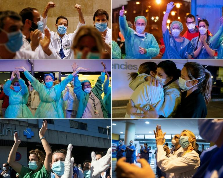 Healthcare workers from around Spain (pictured March 2020) react to the people's support as they are cheered on outside their hospitals in the cities of Barcelona, Burgos, Valencia, Coruna and Palma de Mallorca