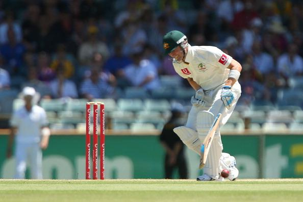 PERTH, AUSTRALIA - DECEMBER 03: Michael Clarke of Australia gets struck in the groin during day four of the Third Test Match between Australia and South Africa at WACA on December 3, 2012 in Perth, Australia.  (Photo by Paul Kane/Getty Images)