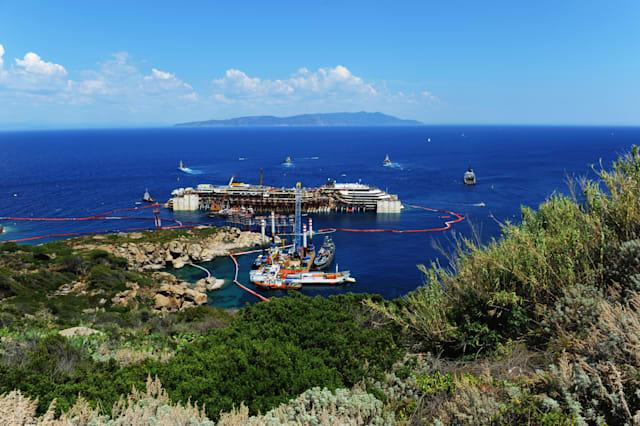 Works In Progress For The Removal Of Costa Concordia