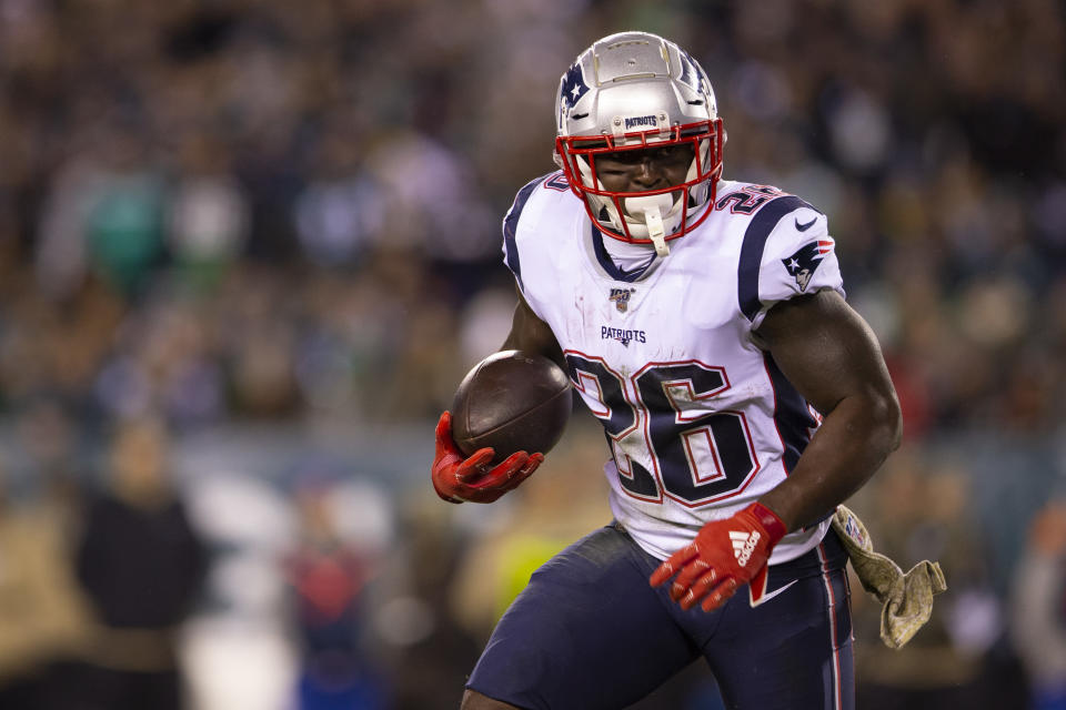 Sony Michel #26 of the New England Patriots runs the ball against the Philadelphia Eagles