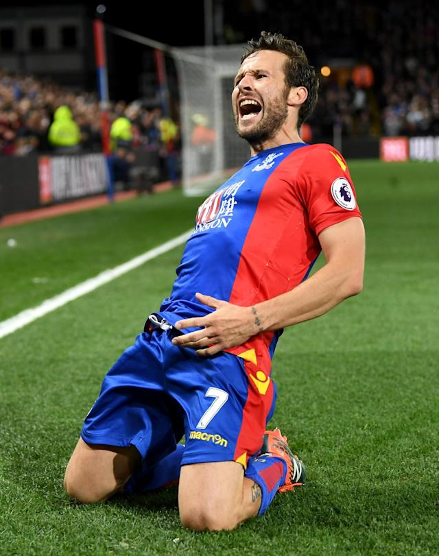 Luka Milivojevic celebrates making it 3-0 from the penalty spot