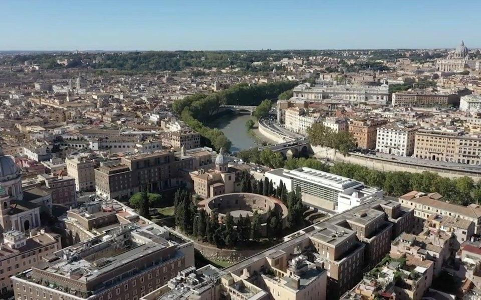 An aerial view of the Mausoleum of Augustus in the heart of Rome - City of Rome