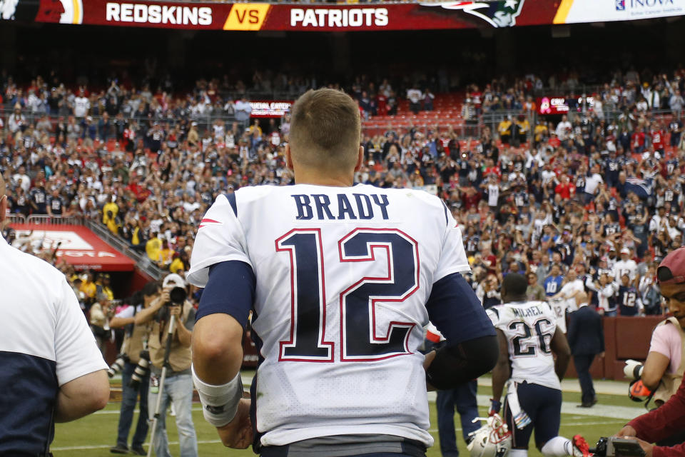 Oct 6, 2019; Landover, MD, USA; New England Patriots quarterback Tom Brady (12) jogs off the field after the PatriotsÕ game against the Washington Redskins at FedExField. Mandatory Credit: Geoff Burke-USA TODAY Sports