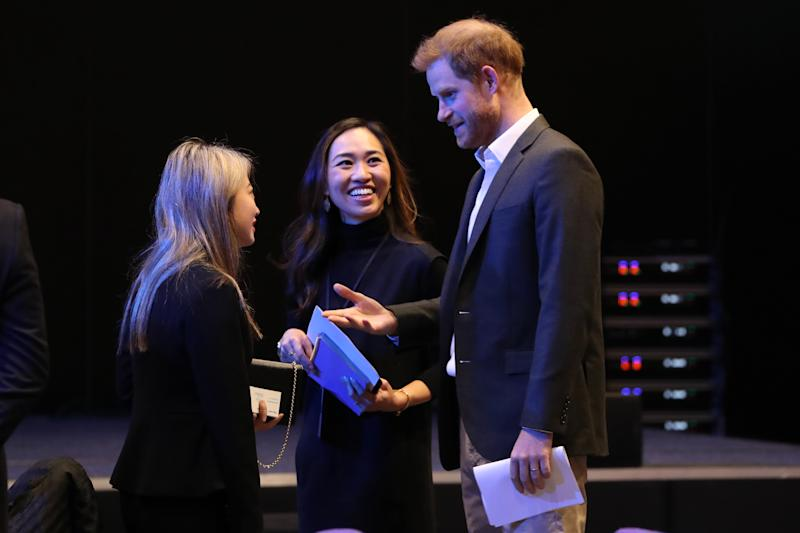 EDINBURGH, SCOTLAND - FEBRUARY 26: Prince Harry, Duke of Sussex greets guests as he attends a sustainable tourism summit at the Edinburgh International Conference Centre on February 26, 2020 in Edinburgh, Scotland. (Photo by Andrew Milligan-WPA Pool/Getty Images)