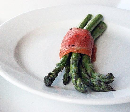 """<p>These asparagus and smoked salmon bundles may look fancy, but they are super easy and can be made in advance for a quick grab-and-go breakfast. </p> <p><strong>Protein:</strong> 10.4 grams</p> <p><strong>Get the recipe:</strong> <a href=""""http://www.popsugar.com/fitness/Healthy-Asparagus-Salmon-Snack-29632841/"""" class=""""link rapid-noclick-resp"""" rel=""""nofollow noopener"""" target=""""_blank"""" data-ylk=""""slk:asparagus and smoked salmon bundles"""">asparagus and smoked salmon bundles</a></p>"""