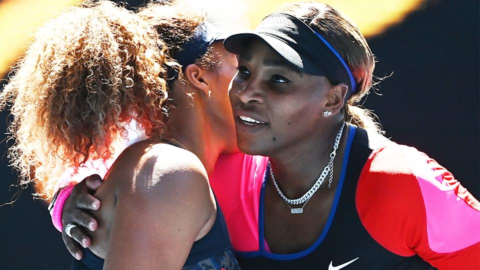 Serena Williams (pictured right) hugs Naomi Osaka (pictured left) at the Australian Open.