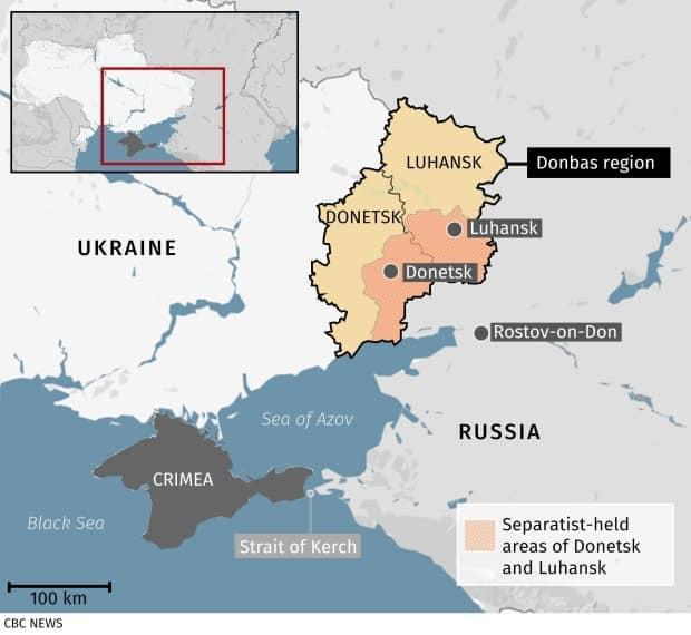 The Donbas region in eastern Ukraine is currently split into territory controlled by the government, in yellow, and that held by Russia-supported separatists, in orange. The opposing sides have been fighting since 2014.