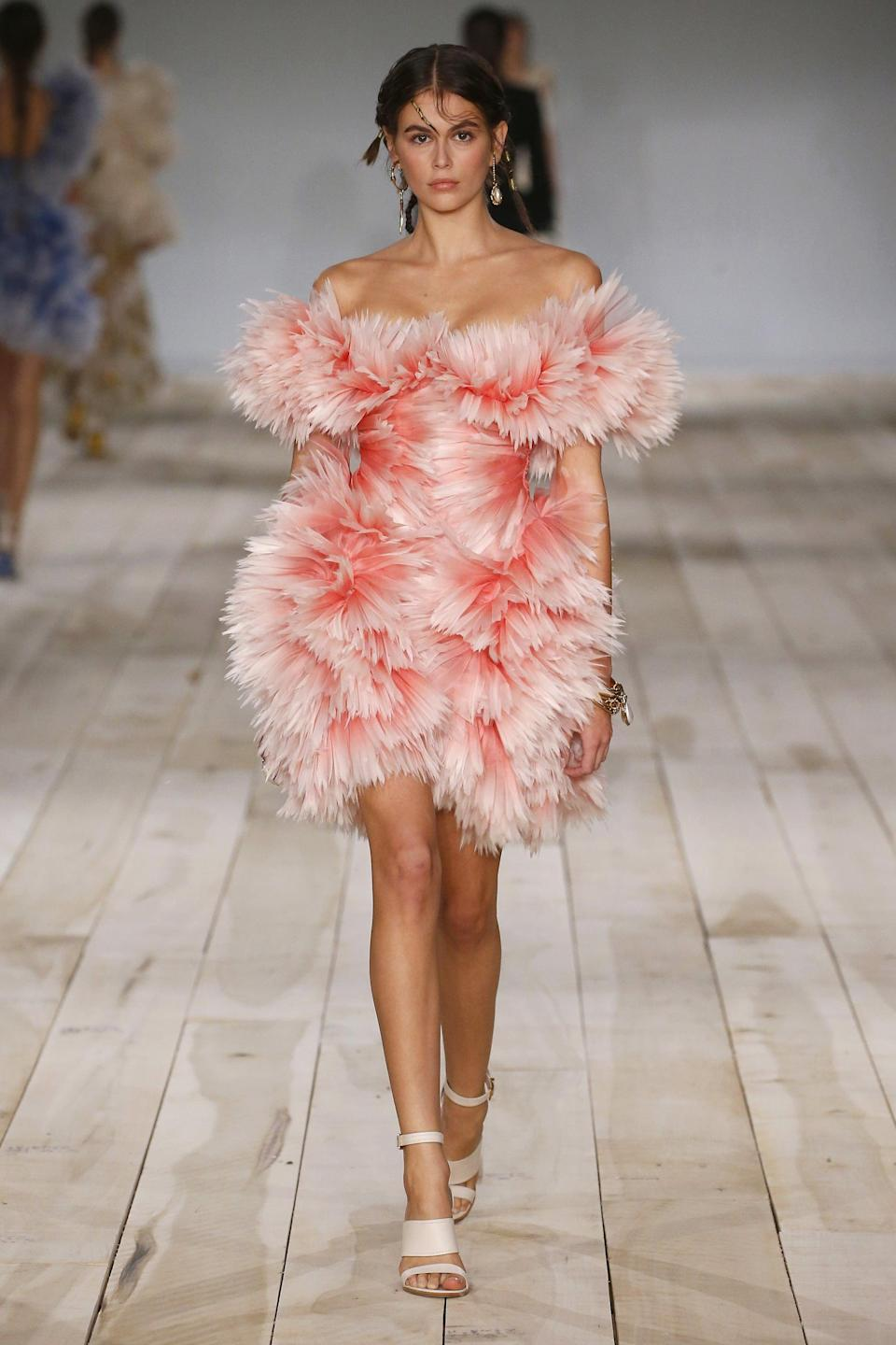 PARIS, FRANCE – SEPTEMBER 30: Model Kaia Gerber walks the runway during the Alexander McQueen Womenswear Spring/Summer 2020 show as part of Paris Fashion Week on September 30, 2019 in Paris, France. (Photo by Estrop/Getty Images)