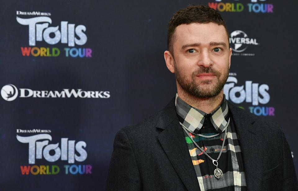 """17 February 2020, Berlin: Justin Timberlake, actor and musician, is at the photo shoot for the movie """"Trolls World Tour"""" at the Hotel Waldorf Astoria. Photo: Jens Kalaene/dpa-Zentralbild/dpa (Photo by Jens Kalaene/picture alliance via Getty Images)"""