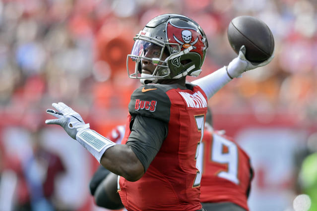 """Despite <a class=""""link rapid-noclick-resp"""" href=""""/nfl/players/28389/"""" data-ylk=""""slk:Jameis Winston"""">Jameis Winston</a>'s myriad mistakes, does he do enough productive things in between them to make up the deficit? (AP Photo/Jason Behnken)"""