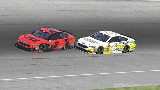 Ryan Luza (No. 6) made the race-winning pass with eight laps to go when he applied the bumper and moved Ray Alfalla (No. 2).