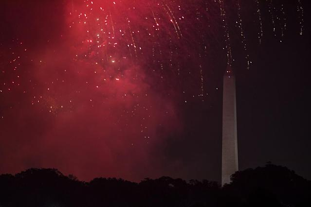 <p>Smoke and sparks from Independence Day celebration fireworks around the Washington Monument along the National Mall in Washington, on July 4, 2017. (Samuel Corum/Anadolu Agency/Getty Images) </p>