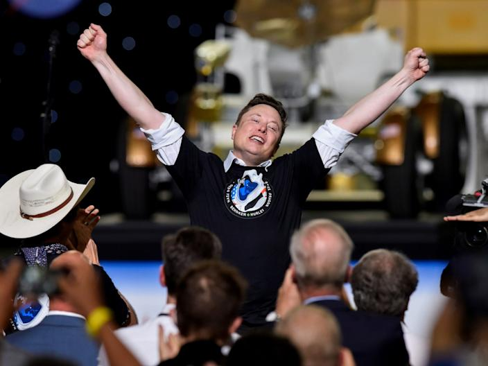Musk celebrates after the launch of the Demo-2 mission.