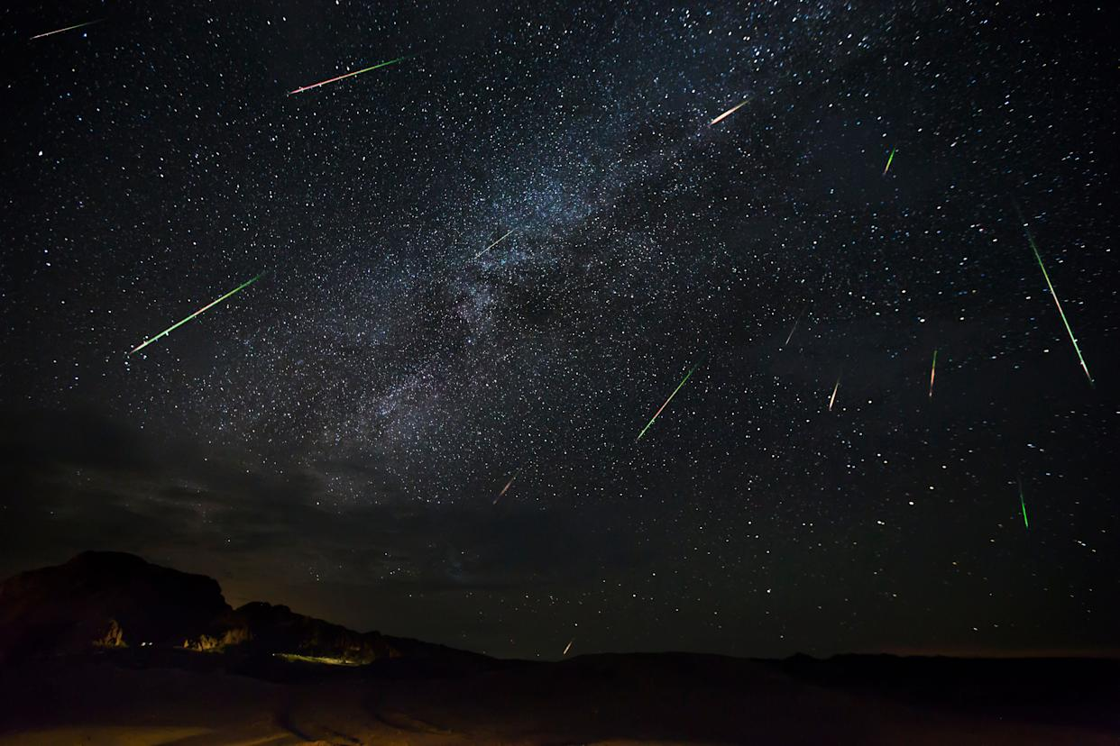 Jason Weingart captures meteors of the Perseid meteorshower as they dart across the night sky, on Aug. 14, 2016, in Terlingua, Texas. (Photo: Barcroft Media via Getty Images)