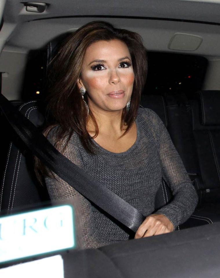 """Looks like """"Desperate Housewives"""" hottie Eva Longoria is in desperate need of a compact. The 35-year-old TV star -- who is currently in the process of divorcing her NBA-playing hubby Tony Parker -- suffered a serious makeup malfunction while out and about in Hollywood. Devone Byrd/<a href=""""http://www.pacificcoastnews.com/"""" target=""""new"""">PacificCoastNews.com</a> - January 4, 2011"""