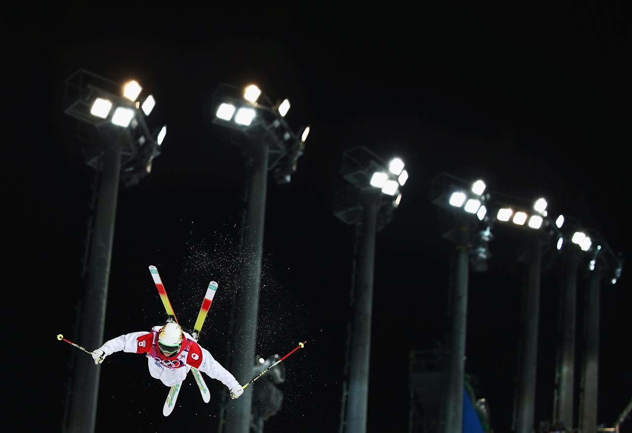 SOCHI, RUSSIA - FEBRUARY 08: Chloe Dufour-Lapointe of Canada competes during Ladies' Moguls Final during day 1 of the Sochi 2014 Winter Olympics at Rosa Khutor Extreme Park on February 8, 2014 in Sochi, Russia. (Photo by Ryan Pierse/Getty Images)