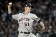 Houston Astros starting pitcher Zack Greinke (21) delivers against the New York Yankees during the first inning of Game 4 of baseball's American League Championship Series, Thursday, Oct. 17, 2019, in New York. (AP Photo/Frank Franklin II)