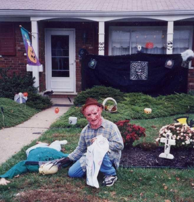 """<p>Let's start with the basics: masks. Whether you put them on your homemade Halloween creatures or you wear them yourself, a mask is a good starting point for any fright fest. """"The best way to start for yard haunts is masks,"""" says Bud Stross of Cincinnati's <a href=""""http://frightsite.com/"""" rel=""""nofollow noopener"""" target=""""_blank"""" data-ylk=""""slk:Dent Schoolhouse"""" class=""""link rapid-noclick-resp"""">Dent Schoolhouse</a>. """"They're very inexpensive these days. Latex masks, you can find anywhere from a Kmart to Wal-Mart, or you can spend grand amounts of money, which I used to do. A mask can cover a body, it can cover a kid, and it can still be spooky for your yard.""""<i> (Photo: Bud Stross)</i></p>"""