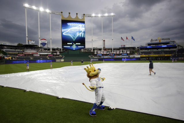 Kansas City Royals mascot Sluggerrr stands on the field as the grounds crew covers the infield with a tarp as a storm gathers near Kauffman Stadium before the Royals' baseball game against the Toronto Blue Jays in Kansas City, Mo., Thursday, Aug. 16, 2018. (AP Photo/Colin E. Braley)