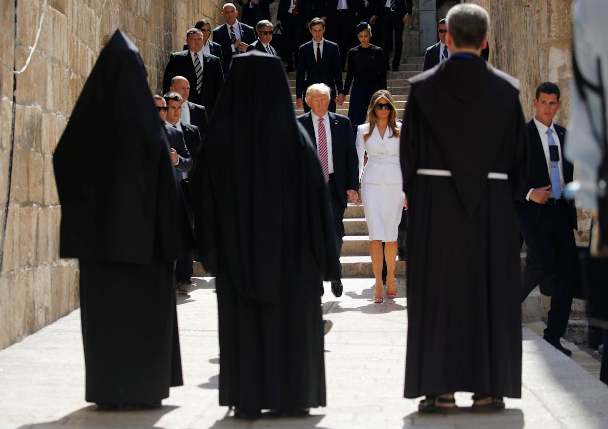 Donald Trump walks with the first lady in Jerusalem's Old City on May 22, 2017.