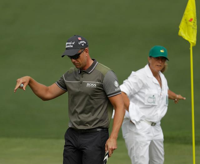 Henrik Stenson, of Sweden, reacts to his putt on the second hole during the first round of The Masters on Thursday in Augusta, Georgia. (AP)