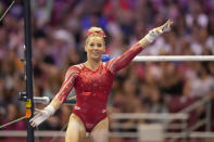 FILE - MyKayla Skinner gestures after competing on the uneven bars during the women's U.S. Olympic Gymnastics Trials in St. Louis, in this Friday, June 25, 2021, file photo. Skinner, a member of the six-woman U.S. delegation that will compete in Tokyo, has been highly critical of former national team coordinator Martha Karolyi and believes USA Gymnastics is in a better place following her retirement in 2016. (AP Photo/Jeff Roberson, File)