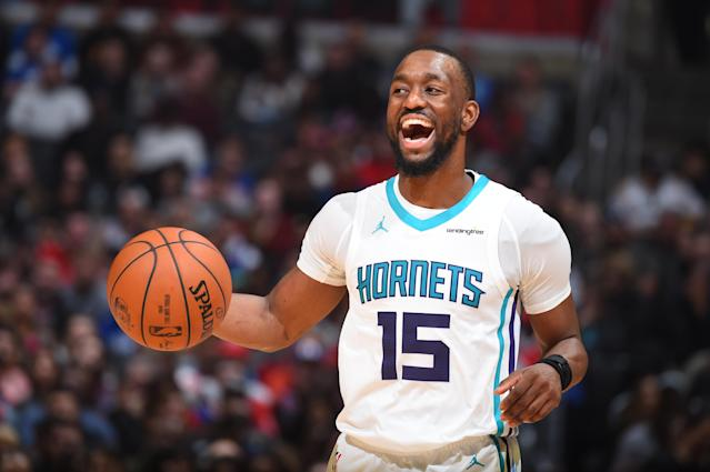"<a class=""link rapid-noclick-resp"" href=""/nba/players/4890/"" data-ylk=""slk:Kemba Walker"">Kemba Walker</a>'s a very good point guard in his prime. So why are the <a class=""link rapid-noclick-resp"" href=""/nba/teams/cha/"" data-ylk=""slk:Charlotte Hornets"">Charlotte Hornets</a> reportedly putting him on the trade block? (Getty)"