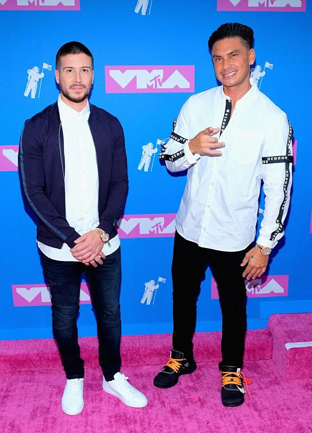<p>The <em>Jersey Shore</em> stars were ready for a night of partying after co-hosting MTV's red carpet pre-show. (Photo: Matthew Eisman/FilmMagic) </p>
