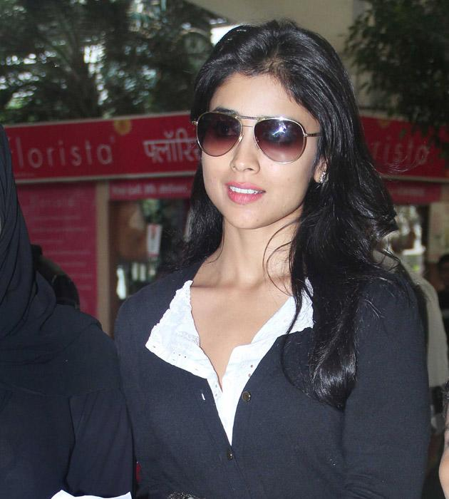 Shriya Saran had a smile playing on her lips when we spotted her