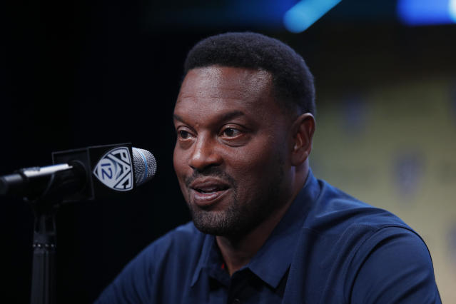 Arizona head coach Kevin Sumlin speaks at the Pac-12 Conference NCAA college football Media Day in Los Angeles, Wednesday, July 25, 2018. (AP Photo/Jae C. Hong)