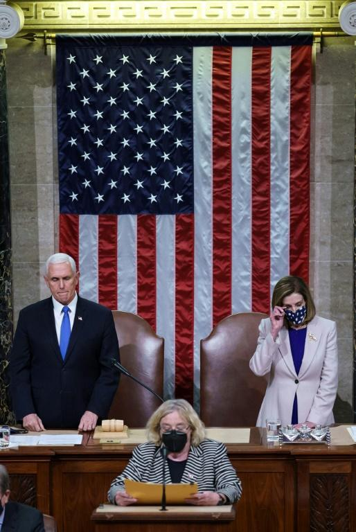 After the mob left, Vice President Mike Pence and House Speaker Nancy Pelosi again presided over the ceremony to certify Joe Biden's win