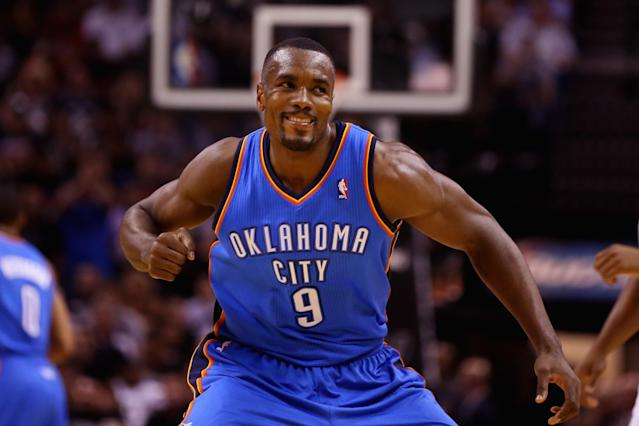 Spanish basketball player Serge Ibaka during a game for the Oklahoma City Thunder on May 29, 2014 in San Antonio (AFP Photo/Ronald Martinez)
