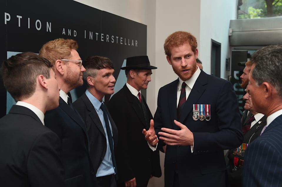 LONDON, ENGLAND - JULY 13: Prince Harry (2nd R) and actors (L-R) Barry Keoghan, Sir Kenneth Branagh, Cillian Murphy and Mark Rylance attend the 'Dunkirk' World Premiere at Odeon Leicester Square on July 13, 2017 in London, England. (Photo by Eamonn M. McCormack - WPA Pool/Getty Images)
