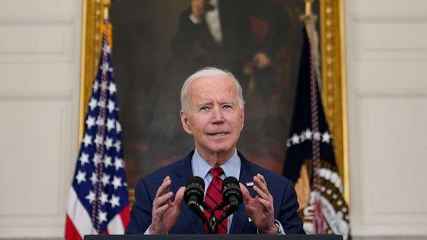 PHOTO: President Joe Biden delivers remarks about the mass shooting in Boulder, Colorado, in the State Dining Room at the White House, March 23, 2021, in Washington, DC.  (Patrick Semansky/AP)