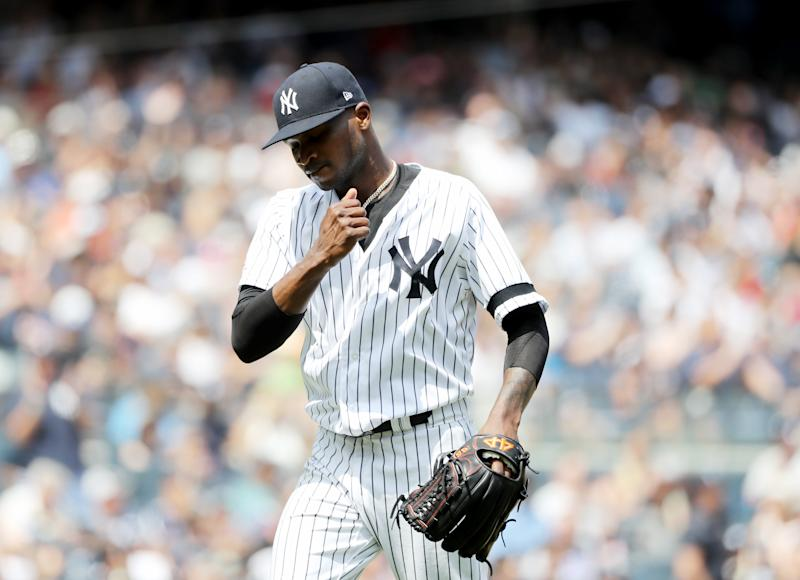 NEW YORK, NEW YORK - AUGUST 03: Domingo German #55 of the New York Yankees celebrates as he walks off the field in the fourth inning against the Boston Red Sox during game one of a double header at Yankee Stadium on August 03, 2019 in the Bronx borough of New York City. (Photo by Elsa/Getty Images)