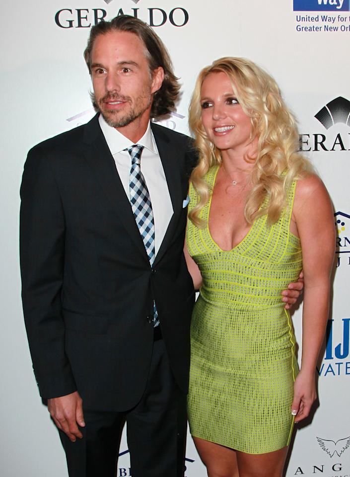 "BEVERLY HILLS, CA - MAY 11:  Recording artist Britney Spears (R) and agent Jason Trawick attend An Evening of ""Southern Style"" presented by the St. Bernard Project & the Spears family at a private residence on May 11, 2011 in Beverly Hills, California.  (Photo by David Livingston/Getty Images)"