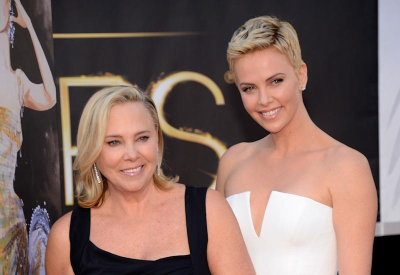 Charlize Theron (right) with her mother, Gerda, at the Oscars in 2013.