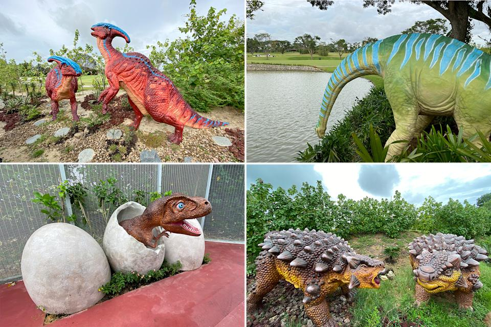 """Dinosaurs seen on display along the Changi Airport Connector's """"Jurassic Mile"""" on Sunday (11 October). (PHOTOS: Dhany Osman / Yahoo News Singapore)"""