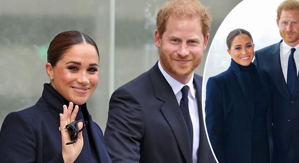 The Duke and Duchess of Sussex, Prince Harry and Meghan Markle visit One World Observatory on 102nd floor of Freedom Tower of World Trade Center. Photo: Getty Images.
