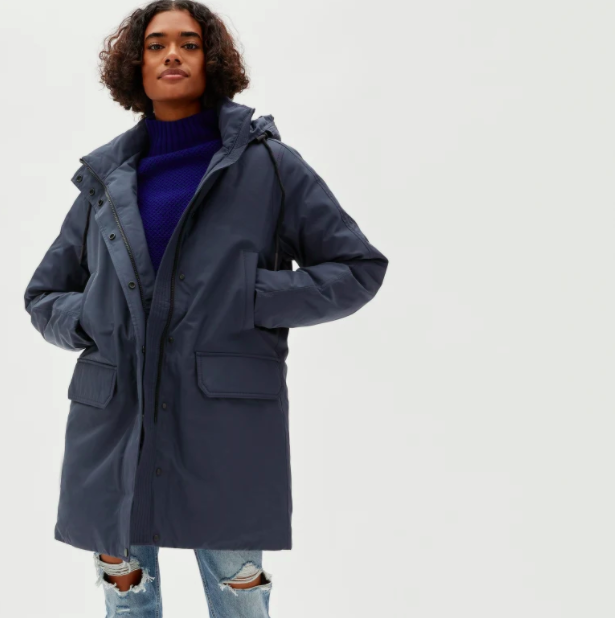 Everlane's ReDown Military Parka is a functional yet fashionable winter coat choice.